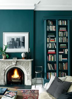 Adding rich, sophisticated color makes a space feel complete, and uniquely yours. We're loving this smokey jewel tone from Ralph Lauren's Greenwich Village Palette, available at Home Depot. Teal Rooms, Teal Walls, Dark Walls, Turquoise Walls, Turquoise Accents, Green Walls, Color Walls, Accent Walls, Best Interior