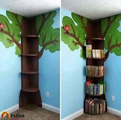 Tree Bookshelf This is simple enough. then could add fake leaves flowers fairy lights etc The post Tree Bookshelf This is simple enough. then could add fake leaves flowers fairy lights etc appeared first on Children's Room. Flower Fairy Lights, Tree Bookshelf, Bookshelf Ideas, Tree Shelf, Kids Book Shelves, Bedroom Bookshelf, Bookshelf Design, Tree Wall, Ideas For Bookshelves