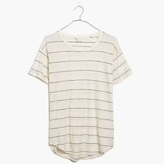 Live-in-it soft and perfectly draped, this made-to-last striped crewneck T-shirt is fashioned in a supercool textural slub cotton. With softly rolled sleeves and a timeless curved hem, this is a forever favorite. <ul><li>True to size.</li><li>Cotton.</li><li>Machine wash.</li><li>Import.</li></ul>