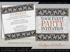 Antique Art Decor Adult Cocktail Party Invitations