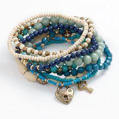 Mudd Gold-Tone Bead Stretch Bracelet Set