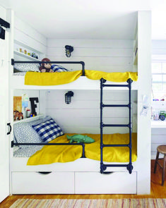 These bunk beds include shelving, storage, and secret hiding nooks for treasures. The railing and ladder are made of inexpensive gas pipe. Bunk Beds For Boys Room, Beds For Small Rooms, Bunk Beds Built In, Modern Bunk Beds, Cool Bunk Beds, Bunk Beds With Stairs, Kid Beds, Small Spaces, Bunkbeds For Small Room