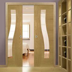 Double Pocket Contemporary Design Cadiz Oak Prefinished Door with Clear safety Glass. The Doors, Entrance Doors, Sliding Doors, Double Pocket Door, Pocket Doors, Contemporary Doors, Contemporary Design, Cadiz, Safety Glass