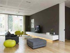 mooie grijze muur, witte meubel, grijze meubels met accent appeltjes groen.