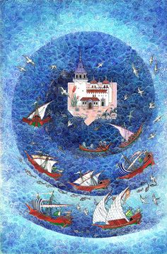 Nusret Çolpan was a Turkish painter, architect and miniaturist, renowned for his paintings in Ottoman miniature style depicting cities around the world, particularly Istanbul. Art And Illustration, Illustrations Posters, Fall Of Constantinople, Medieval Paintings, Book Of Kells, Iranian Art, Turkish Art, Book Of Hours, Medieval Art