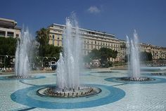 Fountains at Place Massena, Nice, France.