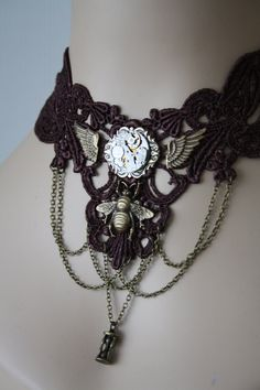 STEAMPUNK CHOKER Steampunk BROWN Lace Choker with Vintage Movement and Wings and Bee - Steampunk Victorian by poppenkraal on Etsy https://www.etsy.com/listing/187785587/steampunk-choker-steampunk-brown-lace