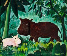 To flodheste i junglen (en. Two Hippos in the Jungle) (1960) by Danish artist Hans Scherfig