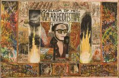 """Untitled (Welkom op het Waarheidfestival or Welcome to the Festival of Truth) by Willem van Genk, c. 1970, mixed media on paper, 38 x 59"""", collection Foundation Willem van Genk, Museum Dr. Guislain, Ghent. Photo by Guido Suykens"""