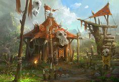 Orc's Home, Lee b on ArtStation at https://www.artstation.com/artwork/orc-s-home