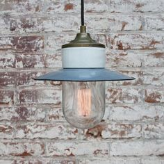 Vintage Industrial Blue Enamel, Brass, Porcelain & Clear Glass Pendant Lamp for sale at Pamono Industrial Ceiling Lights, Ceiling Canopy, Mason Jar Lamp, Brass Color, Vintage Industrial, Glass Pendants, Pendant Lamp, Vintage Designs, Clear Glass