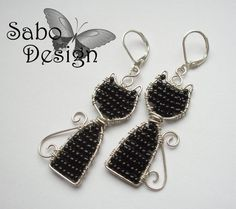 Wirewrapped black silverplated CAT EARRINGS for by SaboDesign, $19.00
