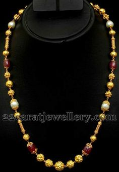 Jewellery Designs: Ruby Beads Nagaas Chain