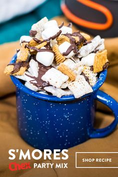 Assemble your s'mores without the sticky fingers! This sweet Chex Mix recipe is ready in 15 minutes and perfect for your backyard barbeque or movie night. Order everything you need to have this recipe on hand for your summer plans! Chex Party Mix Recipe, Snack Mix Recipes, Dessert Recipes, Snack Mixes, Just Desserts, Delicious Desserts, Yummy Food, Luau, Chocolate Marshmallows