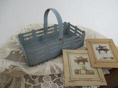 Vintage Metal Basket with Handle - Small Tiny Metal Basket - Gray Metal Basket - Cottage Decor - Garden Decor - Studio Decor
