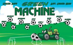 Machine-Green-47109  digitally printed vinyl soccer sports team banner. Made in the USA and shipped fast by BannersUSA. www.bannersusa.com