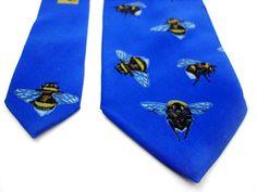 Bumble bee tie vintage necktie silk blue necktie Silk tie