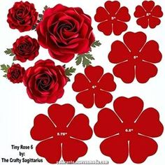 Hard Copy Template of 6 sizes Tiny Rose 6 availabl - Paper Flowers Ideas Paper Flower Patterns, Paper Flowers Craft, Large Paper Flowers, Paper Flower Wall, Crepe Paper Flowers, Paper Flower Tutorial, Paper Flower Backdrop, Giant Paper Flowers, Felt Flowers