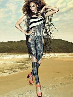 """""""Maré Étnica""""   Model: Joan Smalls, Photographer: Henrique Gendre, Vogue Brazil, January 2013"""