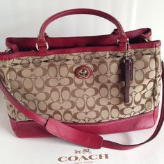 "NWT Coach Park Sig Lg Carryall Bag/Khaki/Blk Chry Coach NWT large Park Signature carryall handbag.  Signature fabric khaki/black cherry leather trim with gold hardware.  Total of 4 compartments inside with center top being zippered closure.  Inside lining black cherry sateen with zippered pocket on one side and two slip pockets on other side.  Handle with 7"" drop and additional strap for shoulder wear. Pocket outside on each side. Gold feet on bottom.  Great bag for travels. F23292 Coach…"