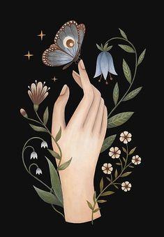 'Gentle touch' Poster by Laorel Botanical Illustration, Illustration Art, Motif Floral, Hand Art, Canvas Prints, Art Prints, Moon Art, Pretty Art, Aesthetic Art