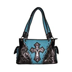 CONCEALED CARRY HANDGUN WESTERN STUDDED CROSS SHOULDER HANDBAG WITH RHINESTONE PURSE TURQUOISE ** Want to know more, click on the image.