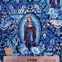 Senhora de Guadalupe Cotton Blue Quilt Fabric pelo estaleiro, Half Yard, Cidade FQ Virgem Maria México Católica Santa Mãe Nuestra Señora Espanhol