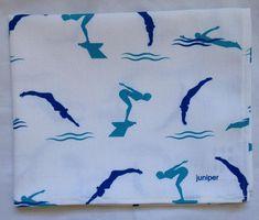 Ladies swimming tea towel - ladies swimming kitchen towel - blue white swimmers tea towel - blue white swim kitchen towel - in 100% cotton