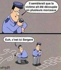 Il semblerait que la #victime ait été découpée en #plusieurs #morceaux ! euh c'est ici sergent !!!