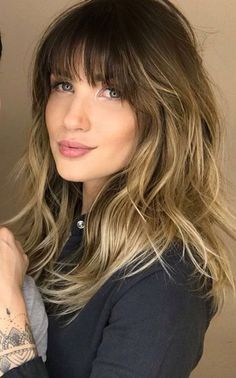 #NaturalHomeRemediesForHairLoss Balayage With Fringe, Hair Color Balayage, Ombre Hair With Fringe, Blonde Color, Blonde Balayage, Bangs And Balayage, Ombre Colour, Short Balayage, Brown Balayage