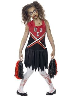 Halloween Zombie Cheerleader - Fancy Dress Costume - Parties & More Zombies are in town and they have brought their cheerleaders! Childrens Halloween Costumes, Homemade Halloween Costumes, Halloween Fancy Dress, Couple Halloween, Halloween Kids, Costume Halloween, Halloween Makeup, Halloween Office, Pirate Halloween