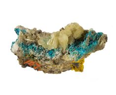 Leadhillite - pale grey-green platy crystals associated with bright blue caledonite and a small amount of yellow pyromorphite - from Leadhills, Lanarkshire