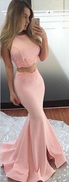 two piece prom dress, long prom dress, 2017 prom dress, pink prom dress, party dress, evening dress