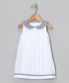 White & Navy Collared Dress - Toddler & Girls