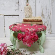 Fabric and wood footstool shabby cottage chic by AnitaSperoDesign