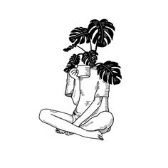 coffee draw Morning Coffee with a Plant - Black amp; Line Drawing Sticker by kimblackart - White - Aesthetic Drawing, Aesthetic Art, Plant Drawing, Painting & Drawing, Body Painting, Plant Tattoo, Outline Art, Minimalist Drawing, Coffee Drawing