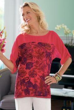 Brocante Top & Tank - Sheer Chiffon Blouse, Crocheted Top & Tank, Jeweled Top & Tank | Soft Surroundings