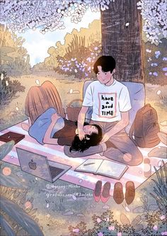 Myeong-Minho is a South Korea-based illustrator who draws beautiful, romantic moments of couples lives. Cute Couple Drawings, Cute Couple Art, Anime Love Couple, Couple Cartoon, Cute Drawings, Manga Couple, Aesthetic Anime, Aesthetic Art, Couple Aesthetic