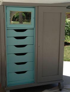 Antique wardrobe painted gray and aqua