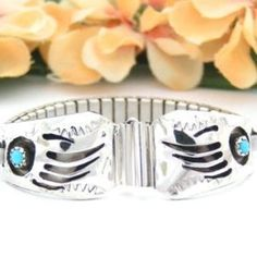 Women's Badger (Bear) Paw Turquoise Sterling Silver Watch Tips   Four Corners USA OnLine   Native American Jewelry   $58