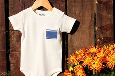 Fall Baby Clothing: 100% Organic Cotton Blue Striped One-Piece with Pocket.