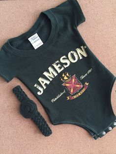 Up-Cycled Jameson Whiskey T-Shirt Onesie With Headband, $23.50