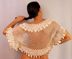 Wild at Heart / Ivory Shrug Bolero Crochet Pure by lilithist