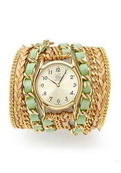 Lime Lambskin Leather Wrap Watch