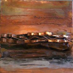 Copper Wall Art ocean dance - copper brown abstract metal art painting modern