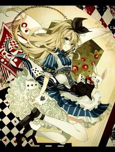 alice alice in wonderland anime cards manga white rabbit Alice Liddell, Alice Anime, Manga Anime, Anime Art, Pixiv Fantasia, Alice Madness, Anime Version, Arte Disney, Adventures In Wonderland