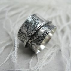 Custom Made Feather Spinner Ring by Janice Art Jewelry