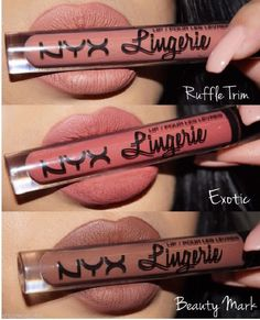 NYX Lip Lingerie Matte Liquid Lipstick Waterproof Lipgloss Makeup 12 Shades UK - Beauty - Make Up Products Lip Gloss Colors, Matte Lip Color, Lipstick Colors, Lip Colors, Nyx Eyeshadow, Makeup Dupes, Skin Makeup, Nyx Cosmetics Lipstick, Liquid Makeup