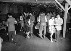 """Japanese Americans removed from their Los Angeles homes attend a dance at the Manzanar """"War Relocation Center"""", 1942 Japanese American, Asian American, American History, Lindy Hop, Roosevelt, Government Camp, Swing Dancing, California History, Urban Aesthetic"""
