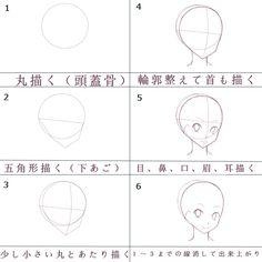 イラスト 基本 Drawing Heads, Drawing Poses, Drawing Tips, Drawing Reference, Drawing Sketches, Eye Drawing Simple, Mago Anime, Chibi Anime, Name Art